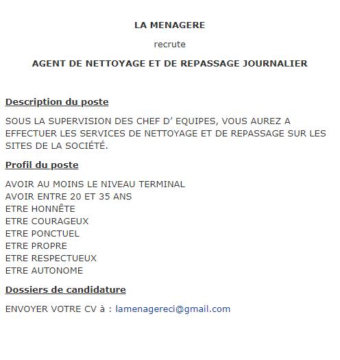 Recrutement Agent Nettoyage Et Repassage Journalier Www